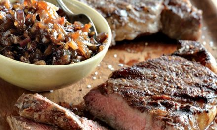 Rib Eye Steaks With Onion Marmalade